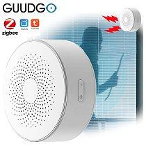 GUUDGO Tuya Zigbee WiFi Wireless Linkage Smart Alarm Sensor Sound and Light Alarm Horn Siren Remote Controll for Smart Home