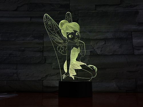 3D-2523 Fairy Wings Light Decoration Girls Children Kids Baby Gifts 7 Color Changing Visual Table Lamp Princess Tinker Bell