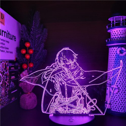 Attack On Titans 3D Lamp Levi Ackerman Action Figure LED Optical IllusionLight Anime Night Light Kids Bedroom Decor Table Lamp