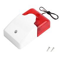 Mini Wired Strobe Siren Durable 12V Sound Alarm Strobe Flashing Red Light Sound Siren Home Security Alarm System 108dB
