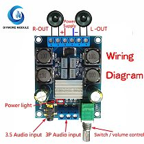 TPA3116D2 Audio Amplifier Board 2*50W DC 4.5-27V 2.0 Channel Stereo Amp 3.5mm AUX Jack Volume Control Subwoofer Speaker
