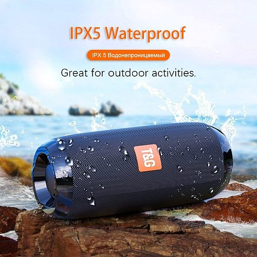 TG117 Wireless Bluetooth Speaker Bass Column Outdoor Waterproof Portable Speakers with FM AUX TF Card USB