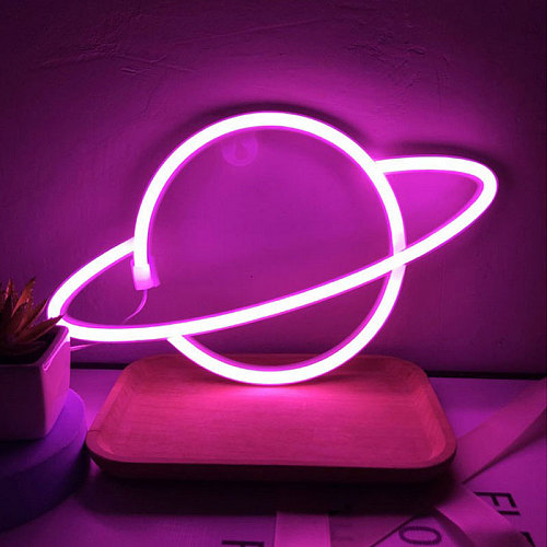 LED Neon Lamp Elliptical  Planet Shaped Wall Sign Desk Night Lights USB Hanging Lamp for Bedroom Home Party Holiday Decor