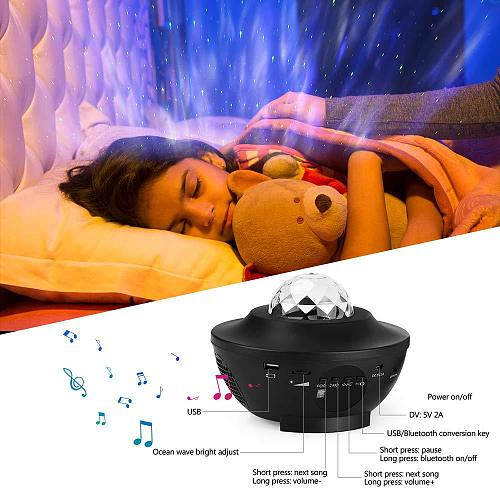 Galaxy Starry Night Lamp LED Star Projector Night Light Ocean Wave Projector with Music Bluetooth Remote Control Kids Gift