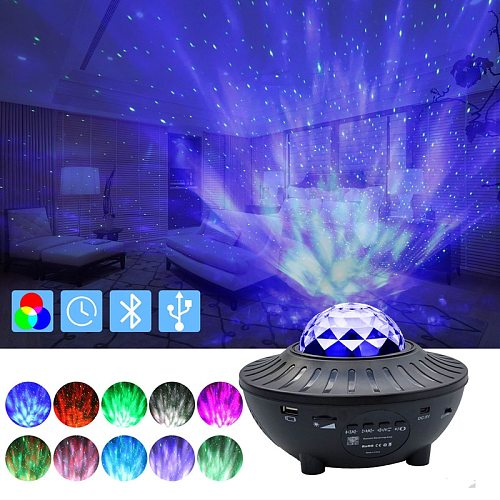 Projector Lamp LED Star Night Lights Wave Sky Starry Galaxy Blueteeth USB Voice Control Music Player Lighting Lamp Birthday