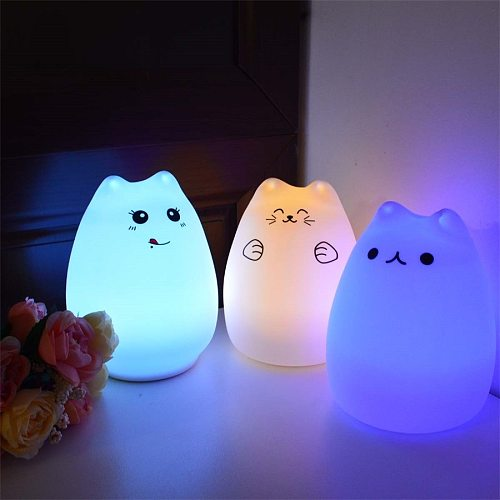 Cute Silicone LED Night Light For Baby Kids Children Bedroom Touch Sensor Remote Cat Lamp Decoration Room Decor Holiday Gift Toy