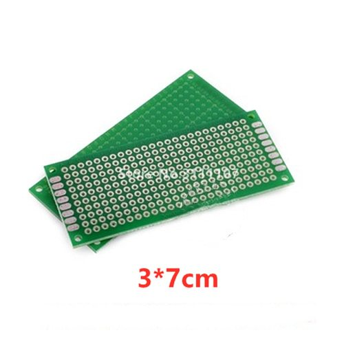 5PCS/Lot  3*7cm Double Side Prototype pcb Breadboard Universal for Arduino 1.6mm2.54mm Practice DIY Electronic Kit Tinned
