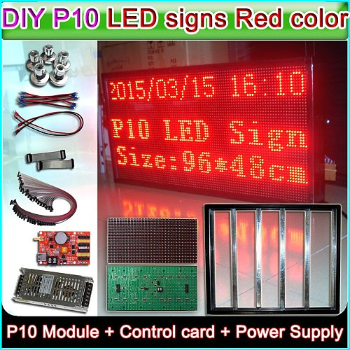 Customizable DIY P10 Red Semi-outdoor LED display sign,P10 LED Module+ Controller+power supply+16P Cable+Aluminum frame