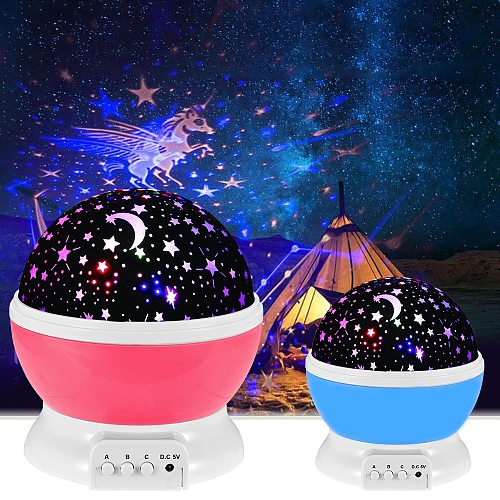 Starry Lights LED Projector Star Moon Night Light Sky Rotating Battery Operated Bedroom Nightlight Lamp for Kids Baby Gifts