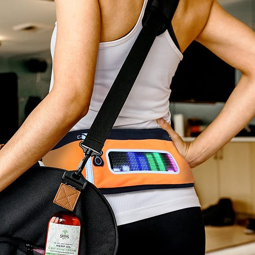Bluetooth LED sports waist bag advertising small and light fanny pack eye catching running hiking sport bags with music rhythm