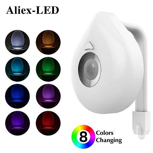 Smart Motion sensor lamp Night light Toilet seat decor PIR Toilet Seat  8 Color rgb Waterproof LED Lighting WC decorative lamps