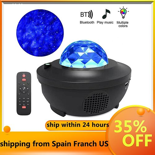 Projector Lamp LED Star Night Light Wave Sky Starry Galaxy Blueteeth USB Voice Control Music Player Lighting Lamp Star Projector