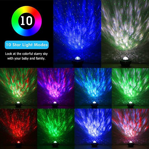 Ocean Waving Starry Sky Projector Led Nebula Cloud Lamp Music Player Colorful Rotating Night Light for Kids Bedroom Beside Lamp