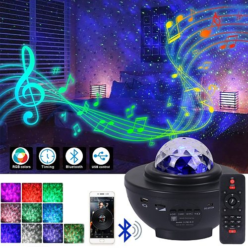 LED Star Projector Night Light Galaxy Ocean Wave Star Night Lamp Projector With Music Bluetooth Speaker Remote Control For Kid