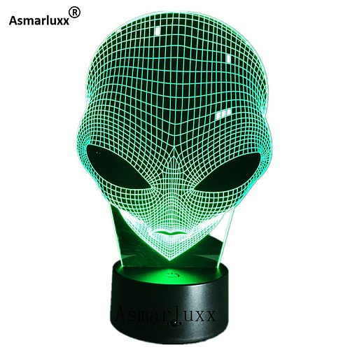 Alien Head 3D Hologram Illusion Unique Lamp Acrylic Night Light With Touch Switch Luminaria Lava Lamp 7Colors Changing Deco Gift