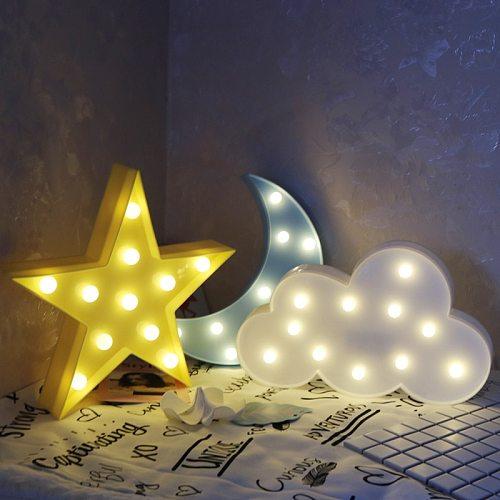 Star Light Cloud Moon Night Light LED 3D Light Gift Toy For Baby Children Night Light Tolilet Lamp Bedroom Decor Indoor Lighting