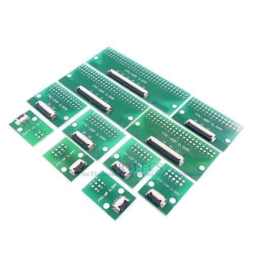 2 pcs FPC FFC 4 6 8 10 12 20 24 30 40 50 60 Pin Adapter 0.5 mm to 2.54 mm x 2.54 mm pitch through hole DIP PCB adapter Converter