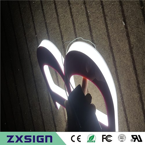 Outdoor three sides illuminated acrylic led light letters for shop sign