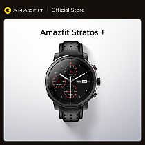 In Stock Amazfit Stratos+ Flagship Smart Watch Genuine Leather Strap Sapphire Glass Flourorubber Strap for Android Phone