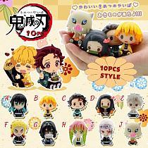 4/6/10/15PCS Anime Demon Slayer Q Version Manga Statue Devil's Blade Kimetsu No Yaiba Action Figure Collectible Model Toys Doll