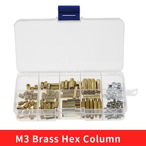 120pcs M3 Male Female Brass Hex Column Standoff Support Spacer Pillar M3 Screw Nut For PCB Board