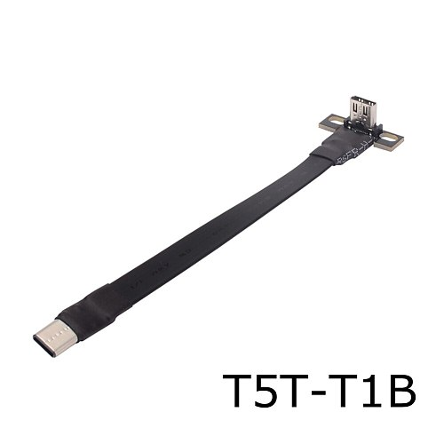 USB 3.1 type C to type C Flat Extension Cable Fold 90 degree USB C Male Female FPC FPV Aerial Photography Cord with Bracket