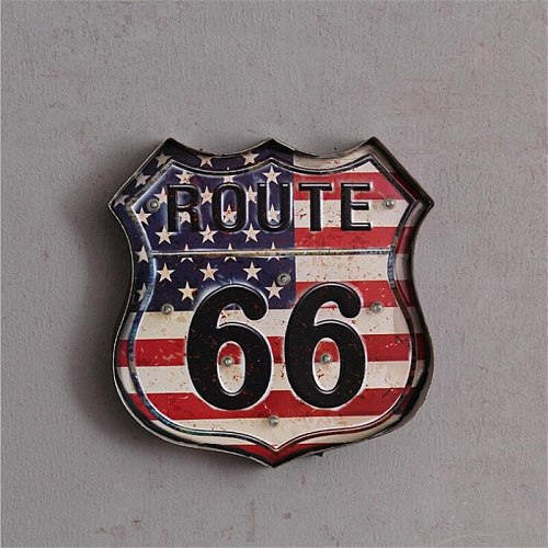 Route 66 LED Vintage Signs Pub Bar Decoration Wall Lamp LED Metal Plate Neon Sign logo Light Home Decor Club Wall Hanging Art