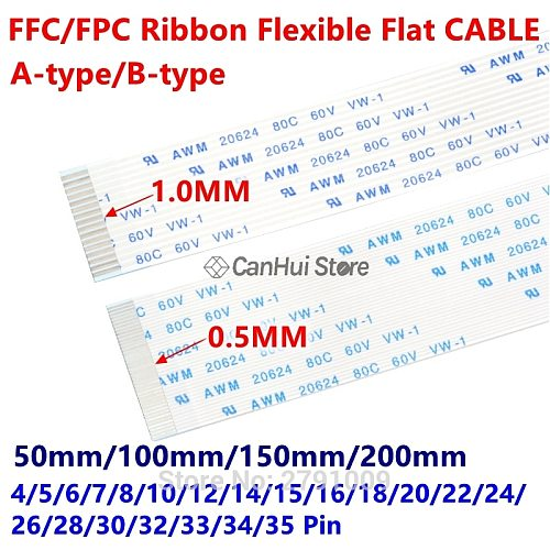 10PC FFC/FPC Ribbon Flexible Flat Cable 1.0MM 50/100/150/200MM A B type contact 4P 6 7 8 10 12 14 18 20 22 24 26 30 32 34 35 Pin