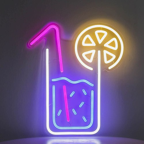 Colorful Juice Flex Neon Sign Custom Handmade Neon Tube with Clear Acrylic Backing For Home Bar Decoration