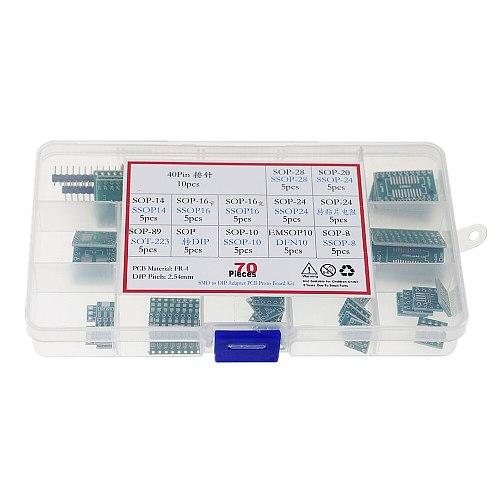 70pcs PCB Board Kit SMD Turn To DIP Adapter Converter Plate SOP8 SOP10 SOP14 SOP16 SOP24 SOP28