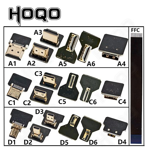 FPV HD Type A2 Male UP Down Angled 90 Degree To HDMI-compatible HDTV FPC Flat Cable For Camera TV Multicopter Aerial Photography
