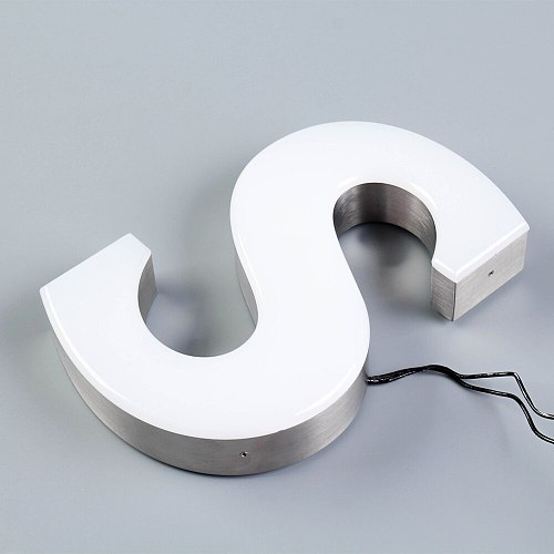 Trimless led Channel letter acrylic sus brushed letter wall-mounted face-lit stainless steel sign customized logo