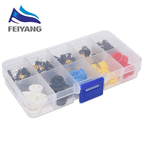 5 Colors 12*12*7.3MM Micro Switch Button Tact Cap Tactile Push Button Switch Momentary 25Pcs/Set