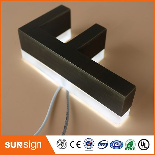 Outdoor archaize stainless steel led sign storefront logo lighting signage