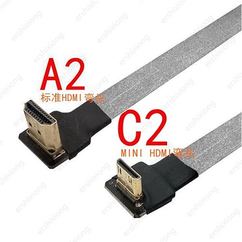 90 Degree FPV Mini HDMI-compatible Male to HDTV Male FPC Flat Cable for Multicopter Aerial Photography Anti-interference 0.2m
