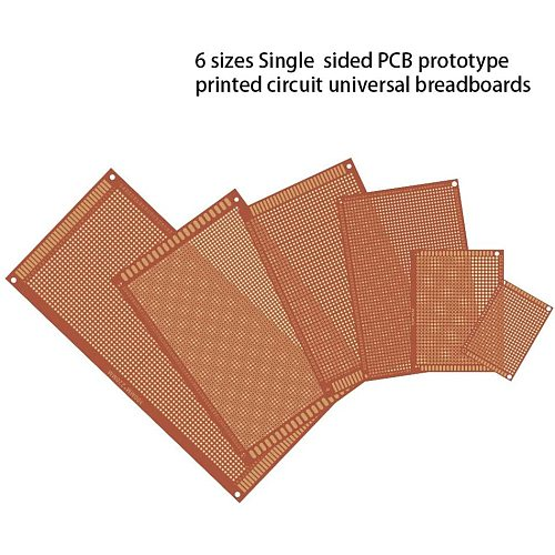 32 Pcs Single Sided PCB Board Prototype Kit 6 Sizes Universal Printed Circuit Protoboard for DIY Soldering Project for Arduino