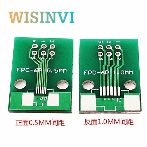 10PCS/LOT Double Side 0.5mm 1mm FFC FPC 6P 6 Pin to 2.54mm DIP Moudle PCB Board Adapter Socket Plate