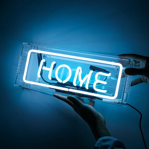 Blue Neon Glass Tube Home Sign Table Light Clear Acrylic Box Neon