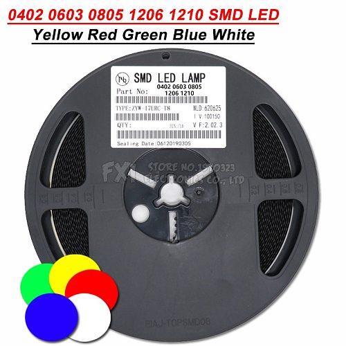 1Reel 0402 0603 0805 1206 1210 SMD LED Diodes light Yellow Red Green Blue White 4000PCS 3000PCS 2000PCS