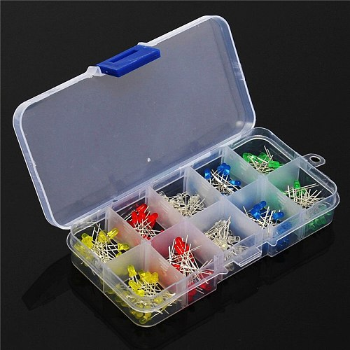 200pcs/box 3mm LED Diode Light Assorted Kit  DIY Diode Set 3mm Red Green Blue Yellow White LEDs for arduino