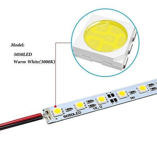 U groove Aluminium Cabinet Light 5050 SMD LED hard Rigid Strip 0.5m 36Leds with aluminum profile U Type AL Shell LED Bar Light