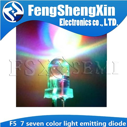 100PCS F3 F5 3MM 5MM RGB 7 color Fast flash/Slow flash LED light-emitting diode (LED) 3mm RGB 7 color fast flash LE Slow flash