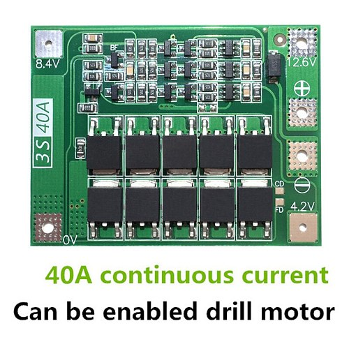 3S 40A Li-Ion Lithium Battery Charger Protection Board PCB BMS For Drill Motor 11.1V 12.6V Lipo Cell Module With Balance