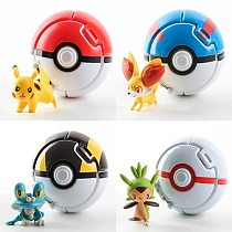 Anime  4pcs/lot Pokeball Go Toys Pocket Monster Explosion Pokeball Super Master Model Figure Toys educational toy for kids