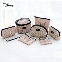 Disney Genuine Mickey Minnie Bag Women's Hand Bag Cartoon Creative Retro Zip Storage Bag Makeup Bag Coin Purse