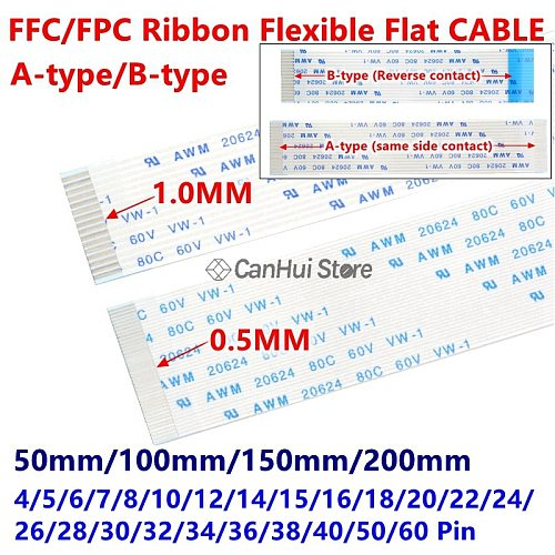 10Pcs 0.5mm FPC FFC Flexible Flat Cable A/B Type 50/100/150/200mm 4P 6/7/8/10/12/14/15/16/18/20/22/26/28/30/32/34/38/40/50/60PIN