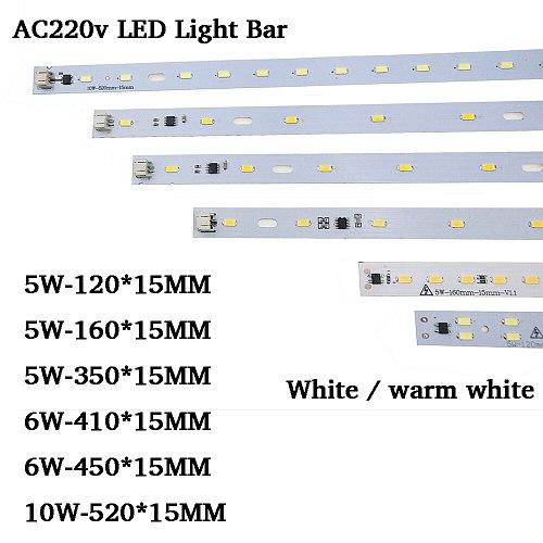 100pcs LED Bar rigid strip ac 220v  Driverless for T5 T8 Tube, 5w 6w 10w 180-260v SMD 5730 led pcb bar light High Brightness