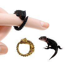 Fashion Tribolonotus Gracilis Ring Animal Sculptural Jewelry Lizard Ring Retro Personality Metal Jewelry Cosplay Props