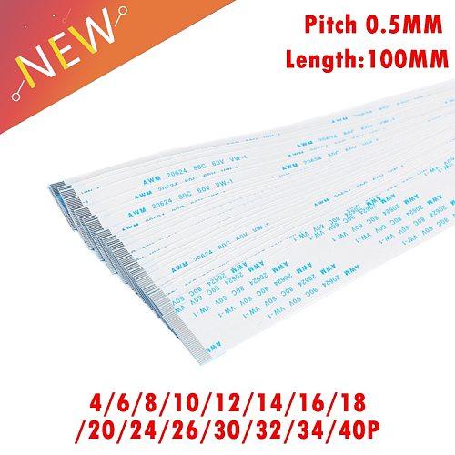 10PCS FPC Ribbon Flexible Flat CABLE PITCH 0.5MM 100MM 4P 6P 8P 10P 12P 16P 20P 30P 40P FFC WIRE 6/10/12/16/20/30/40 pin