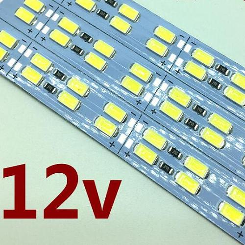 free shipping Double Row Led Rigid Strip 5630 5730 bar light Cool White 144Leds/m 72leds/0.5m 12mm PCB DC12V with DCcontact
